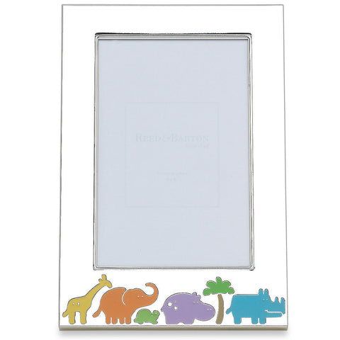 "Engravable Jungle Parade Silverplate 4"" x 6"" Photo Frame"