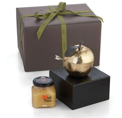 Apple Honey Pot with Spoon and Honey Kosher Gift Set