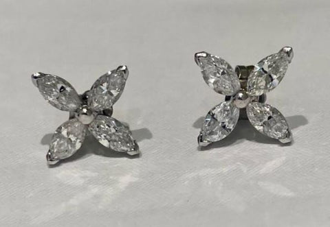 14K White Gold Marquise Earrings