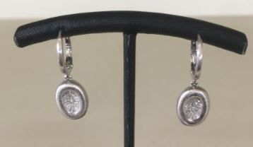 14k White Gold Oval Pave Diamond Leverback Earrings