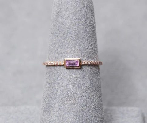14K Yellow gold Pink Sapphire Baguettes And Diamond Fashion Ring