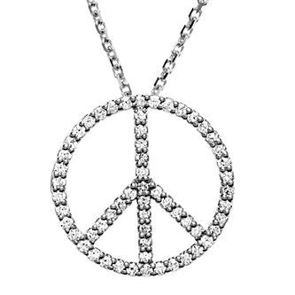White Gold Diamond Peace Sign Pendant