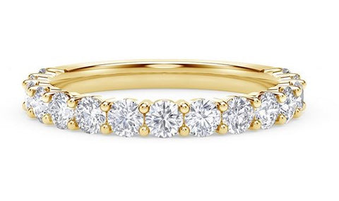 14K Yellow Gold 9 Stone Band Wedding Band