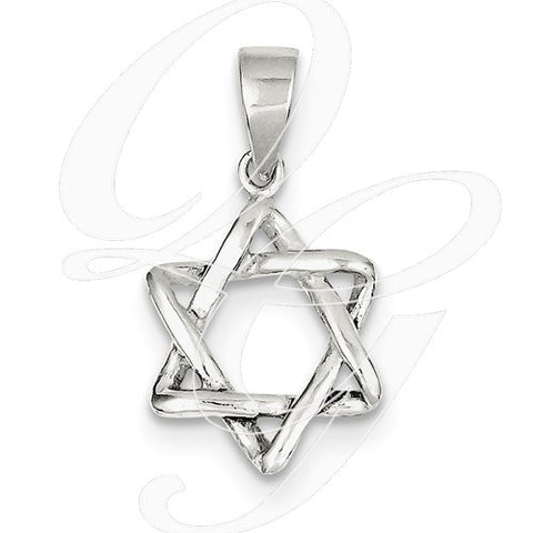 Sterling Silver 3D Star of David Pendant - from Holsten Jewelers