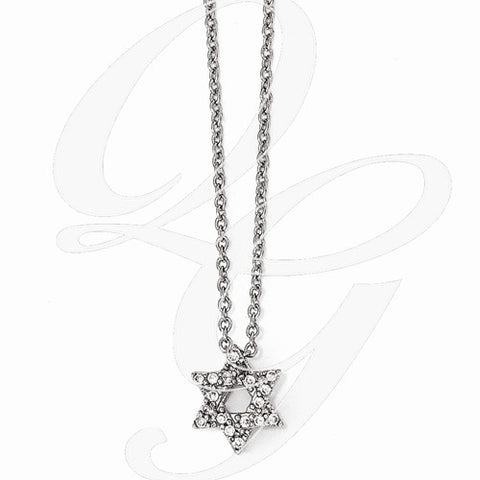 jewish star pendant with cz's