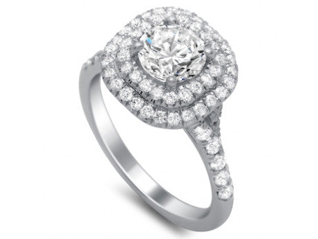 14k White Gold Double Diamond Halo Diamond Engagement Ring(center stone not included) - from Holsten Jewelers