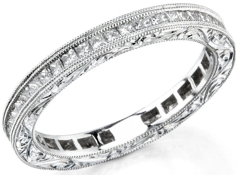 Channel Set Princess Cut Diamond Wedding Ring