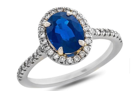 18k White Gold Oval Sapphire Ring With Diamond Halo and Sides - from Holsten Jewelers