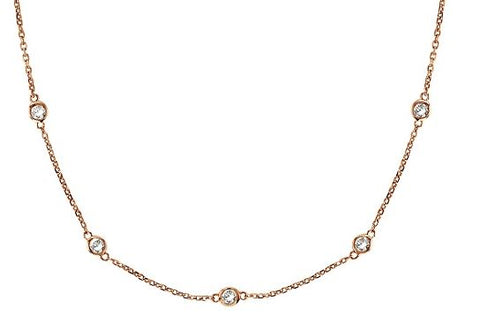 14k Rose Gold Diamond By The Yard Necklace - .32ct total weight