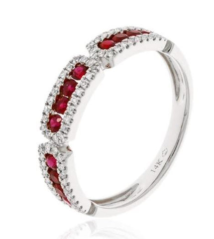 14k White Gold Channel Set Ruby And Diamond Ring