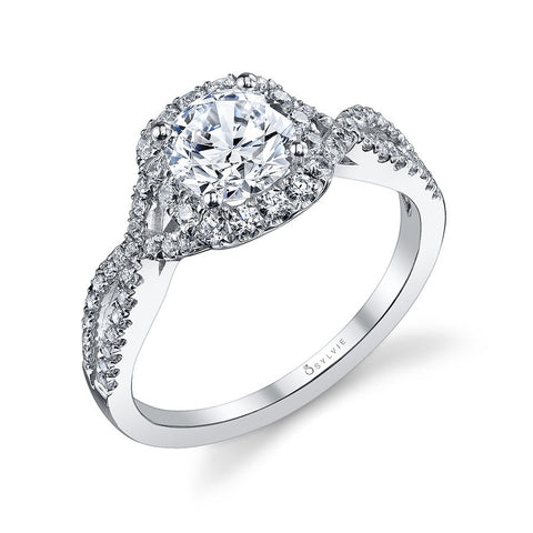 14k White Gold Classic Criss-Cross Diamond Halo Engagement Mounting(center stone not included) - from Holsten Jewelers