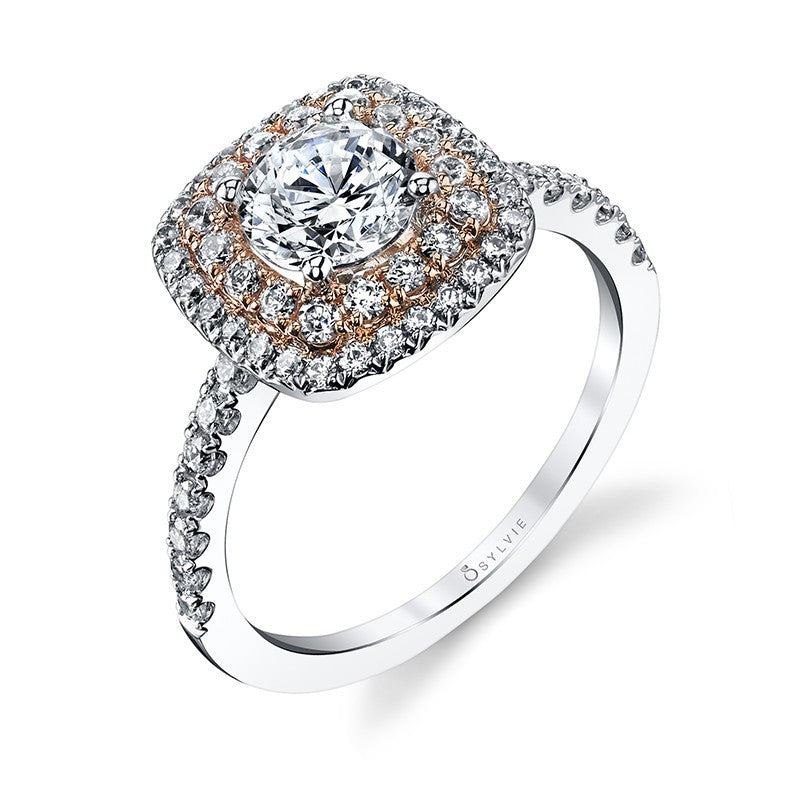 Classic Cushion Shape Double-Halo Rose and White Gold Diamond Engagement ring
