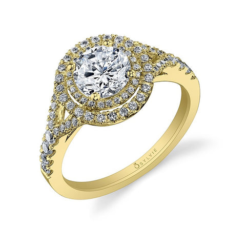 14k White Gold Double Diamond Halo Engagement Mounting(center stone not included) - from Holsten Jewelers