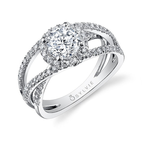 Bold Criss-Cross Split-Shank Diamond Engagement Ring