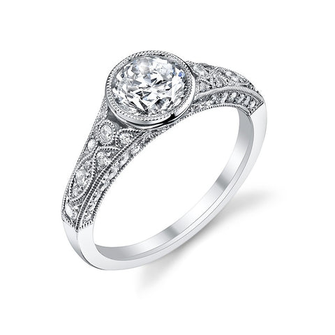 14k White Gold Vintage Inspired  Bezel Set Diamond Engagement Ring with Diamond Sides(center stone not included) - from Holsten Jewelers