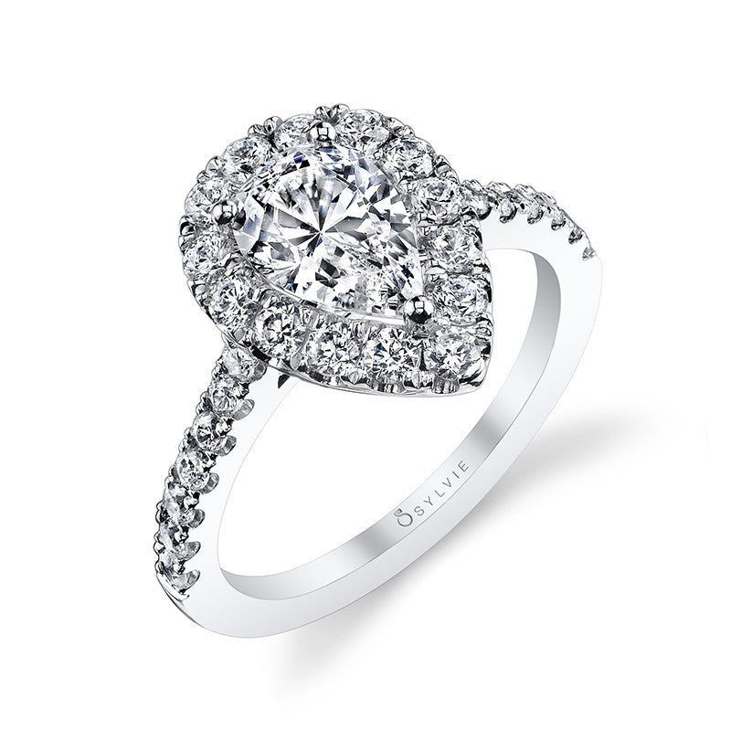 Classic Pear Shape Halo Diamond Engagement Ring