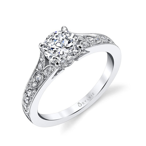 14k White Gold Antique Designed  Engagement Mounting(center stone not included) - from Holsten Jewelers