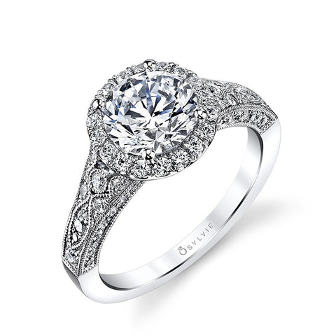 14k White Gold Antique Inspired  Diamond Halo Engagement Ring(center stone not included) - from Holsten Jewelers