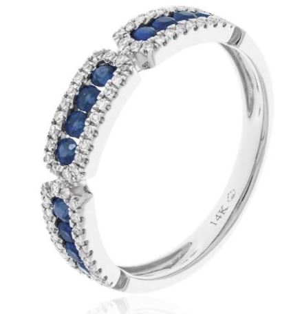 14k White Gold Channel Set Sapphire & Diamond Ring