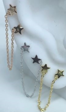 Lady's Yellow Sterling Silver Star Chain Earrings