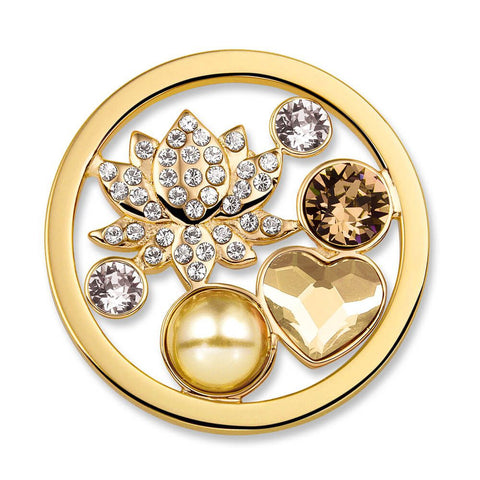 Lotus Champagne Charm with Swarovski Crystal Elements