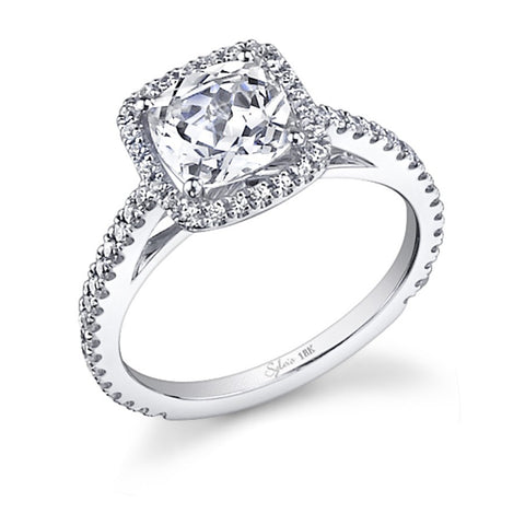 White Gold Cushion Shape Diamond Halo Engagement Ring