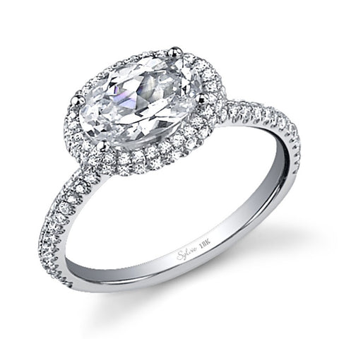Modern East-West Oval Cut Diamond Halo Engagement Ring