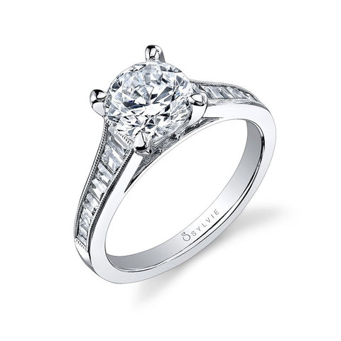 14k White Gold Round Brilliant Diamond Engagement Ring with Channel Set Baguettes(center stone not included) - from Holsten Jewelers