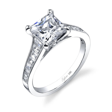 14k White Gold Princess Engagement Ring with  Tapered Baguette Diamonds (center stone not included) - from Holsten Jewelers