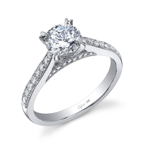 14k White Gold Diamond Accented Milgrain Engagement Ring(center stone not included) - from Holsten Jewelers