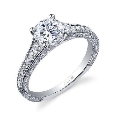 14k White Gold Diamond Accented Engagement Ring with Engraved Sides(center stone not included) - from Holsten Jewelers