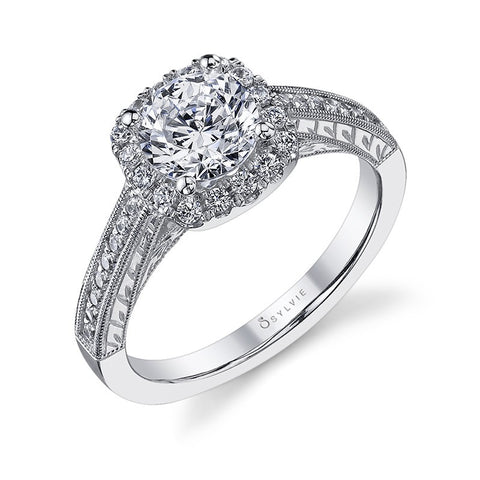 14k White Gold  Cushion Shaped Diamond Engagement Ring with Diamond Sides(center stone not included) - from Holsten Jewelers
