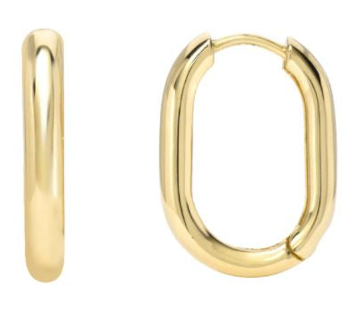 14K Yellow Gold Thick Rectangle Hoop Earrings