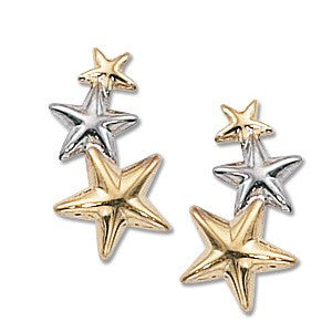 14k White and Yellow Gold Three Star Earring - from Holsten Jewelers