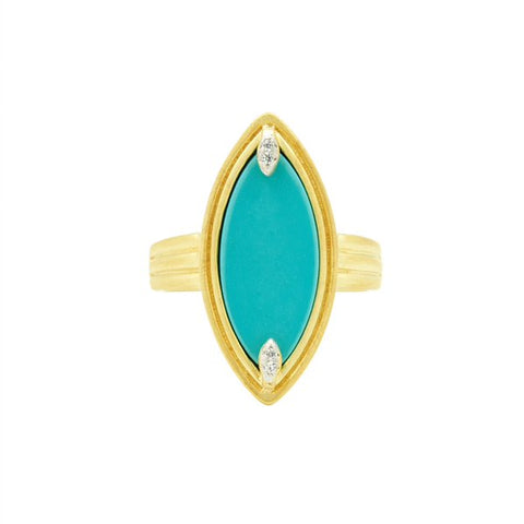 Frieda Rothman Sterling Silver Gold Plated Fleur Bloom Empire Turquoise Statement Ring - from Holsten Jewelers