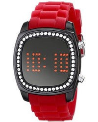 Crystalized Mirror Digital Red Rubber Strap Watch