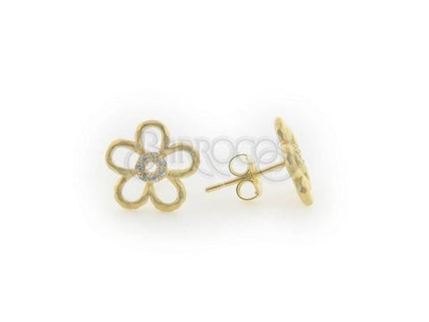 Sterling Silver Hammered CZ Flower Stud Earrings - from Holsten Jewelers