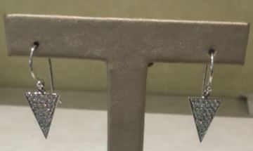 14k White Gold Diamond Pave Triangle Dangle Earrings