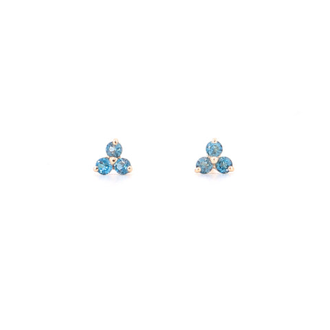 14k Yellow Gold London Blue Topaz Tripod Stud Earrings