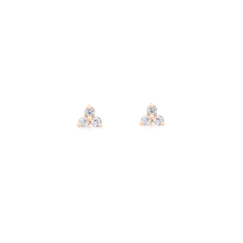14k Yellow Gold Sky Blue Topaz Tripod Stud Earrings