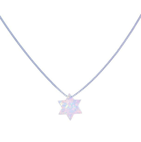Opalite Star of David Pendant on Sterling Silver Chain