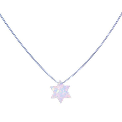 Opalite Star of David Pendant on Sterling Silver Chain - from Holsten Jewelers