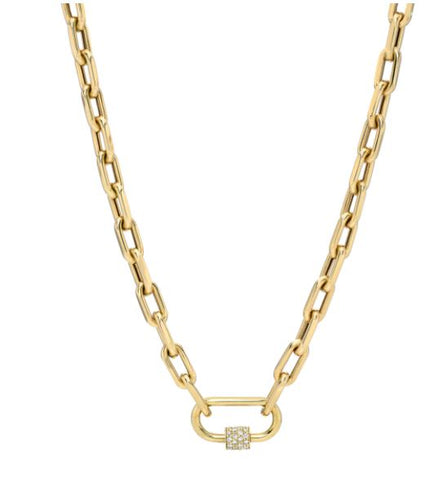 14K Yellow Gold Paper Clip Diamond Necklace