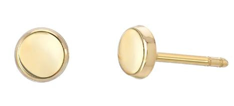14K Yellow Gold Small Disc Earrings