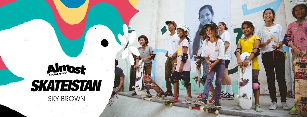 almost skateboards skateistan sky brown dove girl charity skateboard deck