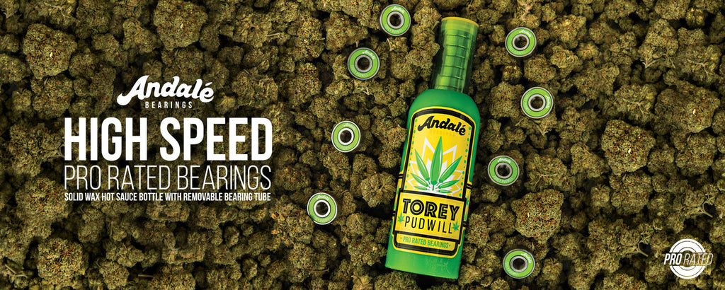 Andale Torey Pudwill Green Hot Sauce Wax Bottle Pro Rated Bearings weed