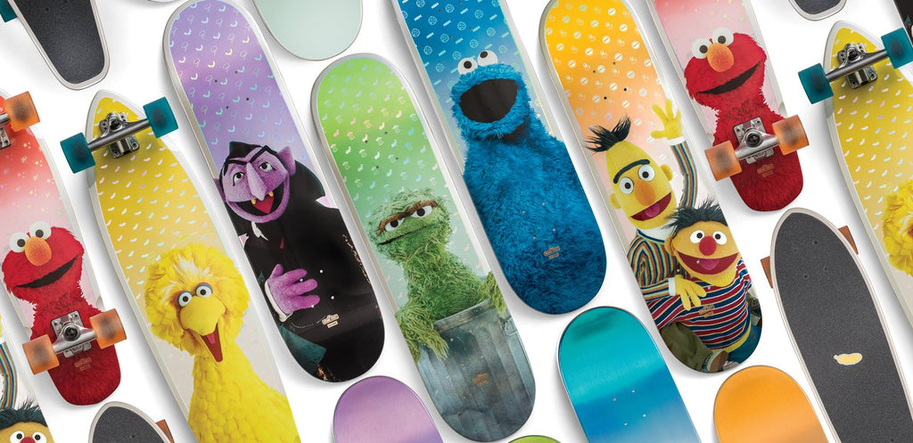 Globe_Brand_Sesame_Street_collab_big_bird_Coockie_Monster_Oscar_grouch_bert_ernie_elmo_skateboard_deck