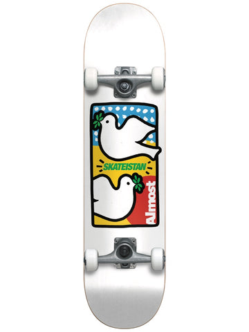 Almost Skateistan Double Doves White 7.875 First Push Complete Skateboard