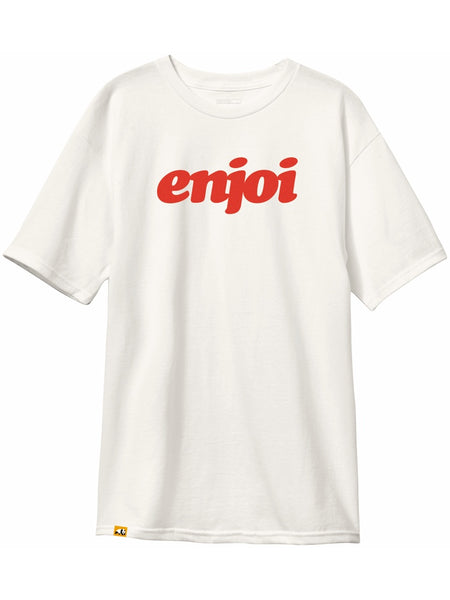 enjoi flocked custom dye bone white short sleeve tshirt