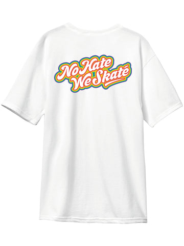 Andale NO HATE WE SKATE Rainbows White Short Sleeve Tshirt